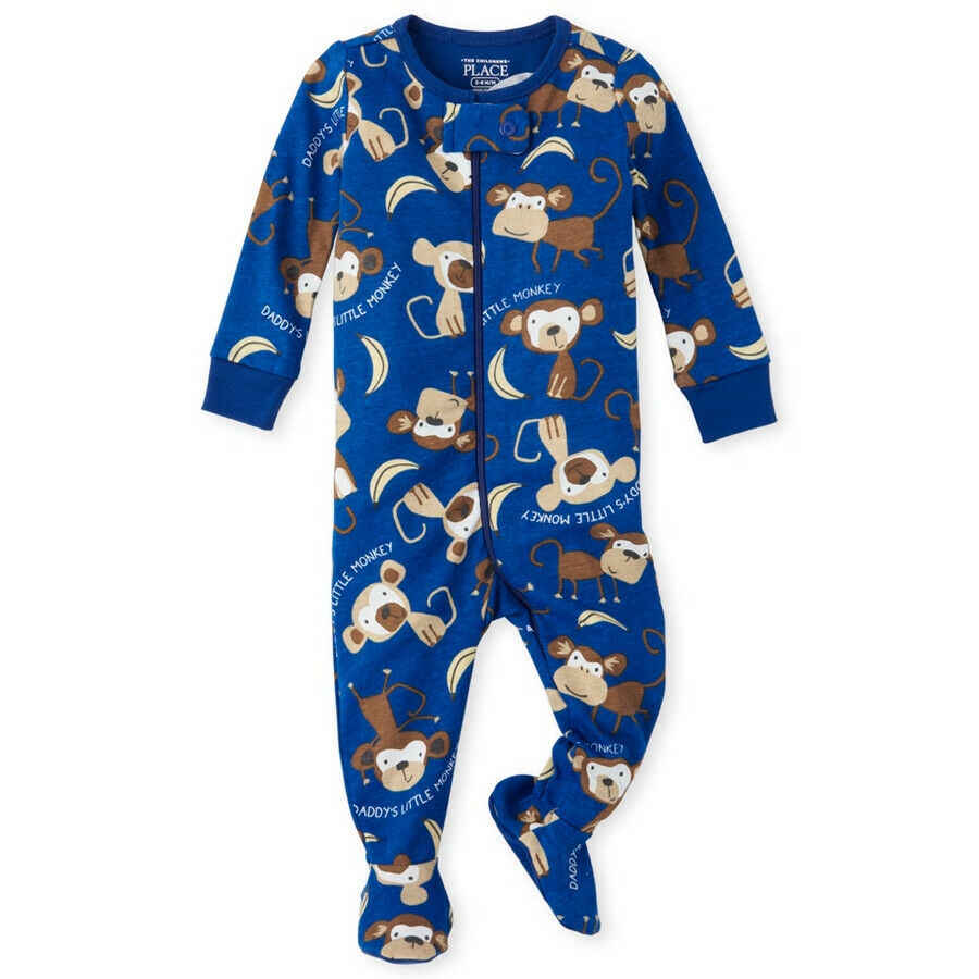 NWT The Childrens Place Boys Monkey Blue Footed Stretchie Pajamas Sleeper - $8.99