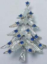 Vintage Silver Tone and Blue Rhinestone Christmas Tree Brooch - $27.95