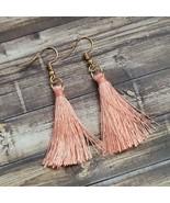 Pink & Gold Tassel Earrings Boho Festival Dangle Drop Fashion Jewelry Gift - $11.99