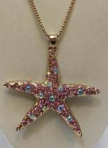Necklace Pendant Starfish Betsey Johnson Pink Iridescent Rhinestones Gol... - $21.77