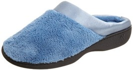 Isotoner Women's Microterry PillowStep Satin Cuff Clog Slippers, Denim, ... - $25.76