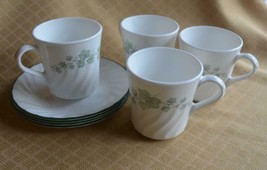 4 Corelle Corning Mugs & Saucer Sets Dishes Cups Callaway green vines iv... - $11.59