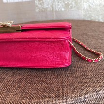 100% AUTH CHANEL HOT PINK Caviar Leather WOC Wallet on Chain WOC Bag GHW image 7