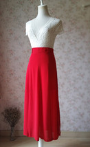 Double Slit Skirt Long RED SKIRT Lady Red High Waisted Party Skirt with Belt NWT image 7