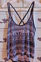 Elephant Print Loose Tank Rue 21 Black White Womens Jr L Criss Cross Cro... - $12.99