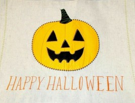 Celebrate Happy Halloween Placemats (4) Jack-o-lantern Pumpkin Burlap 18... - $19.57