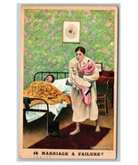 Vintage 1908 Bamforth Joke Postcard Snoring Husband Wife with Crying Baby - $15.81