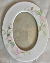 Vintage Oval Ceramic Photo Frame with Pink Roses 3 x 5 Photo Easel Back - $15.00