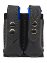 NEW Barsony Black Leather Double Magazine Pouch Walther Steyr Compact 9mm 40 45 - $38.99