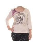Karen Scott Women's Embellished Leopard Knit Top (XL, Oatmeal Heather) - $7.05