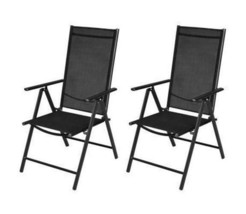 Outdoor Folding Chairs 2 Pcs Set Chair Garden Seat Aluminium Seater Pati... - $106.95