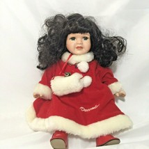 Christmas In July Porcelain Doll December Birthstone Sits Doll Collector... - $11.88