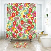 Flower Lilly Pattern 01 Shower Curtain Waterproof & Bath Mat For Bathroom - $15.30+