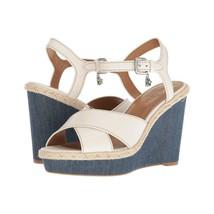 Coach Eaton Chalk Leather Denim Wedge Sandals Size 9.5 NIB G2232 - $93.56