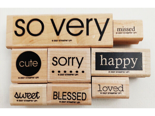 Stampin' Up! So Very Stamp Set, Rubber On Wood, Set of 8