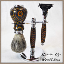 Handmade Color Grain Wood Shaving Set Double Edge Safety Mach 3 Fusion R... - $142.37