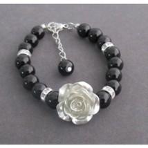 FlowerGirl Bracelet with Flower, Flower Girl Pearl Bracelet Flower Girl Gift - $13.50