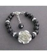 FlowerGirl Bracelet with Flower, Flower Girl Pearl Bracelet Flower Girl ... - $13.50