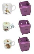 3 X Set Emballé wrendale Licence Official Cerf Vache Pheasant Porcelaine... - $35.61