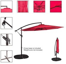 Sundale Outdoor 10 Feet Aluminum Offset Patio Umbrella With Crank, Red 2... - $152.20 CAD