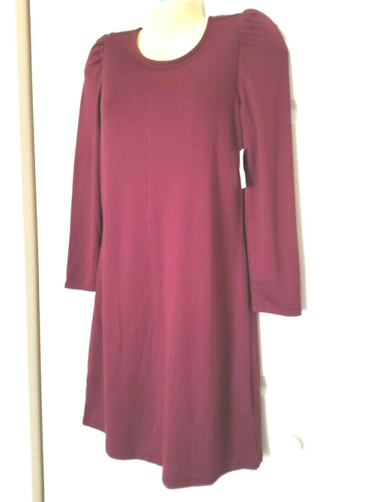 OLD NAVY Size Small Ponte Knit Shift Dress Maroon Long Sleeves NWT
