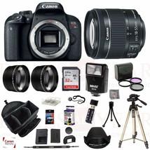 Canon EOS T7i Camera 18-55mm f/4.5-5.6 STM 3 Lens Flash Bag 32GB Tripod Kit - $703.02