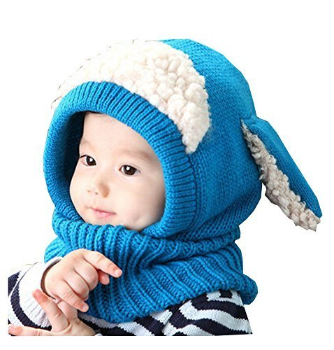 Unique Winter Baby Hat/Cap Useful Warm Cute Woolen Baby Hat with Scarf Blue