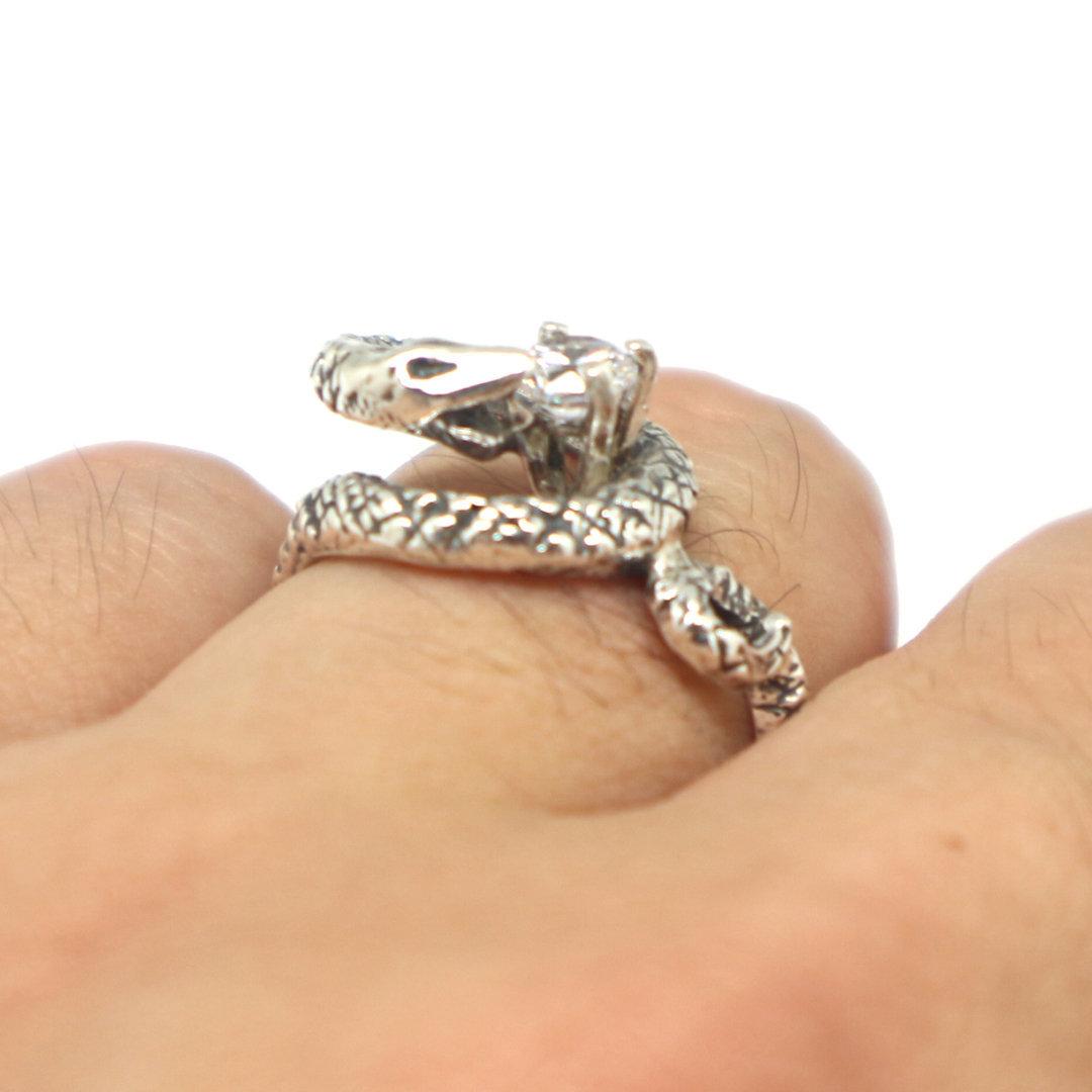 Silver Snake Biting Ring