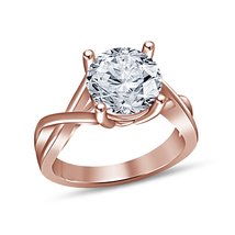 Womens Diamond Solitaire Engagement Ring 14k Rose Gold Over 925 Sterling... - £55.70 GBP