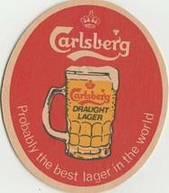 VINTAGE CARLSBERG DRAUGHT LAGER BEER COASTER - BAR MANCAVE - $2.69