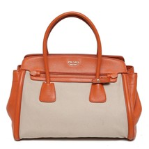 Auth Prada Orange Beige Cuir Frame Convertible Tote Canvas and Saffiano Leather - $650.49