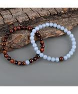 Couple Bracelet, Red Tiger's Eye & Blue Angelite 6 MM Beads Stretch Bracelet. - $23.99 - $27.99