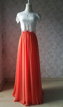 Plus Size Maxi Chiffon Skirt A-Line Chiffon Wedding Skirt Orange image 4
