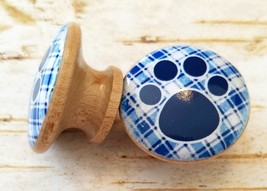 "Handcrafted Blue Plaid Dog Paw Print Knobs Drawer Pulls, 1.5"" Cabinet Knobs - $5.94"