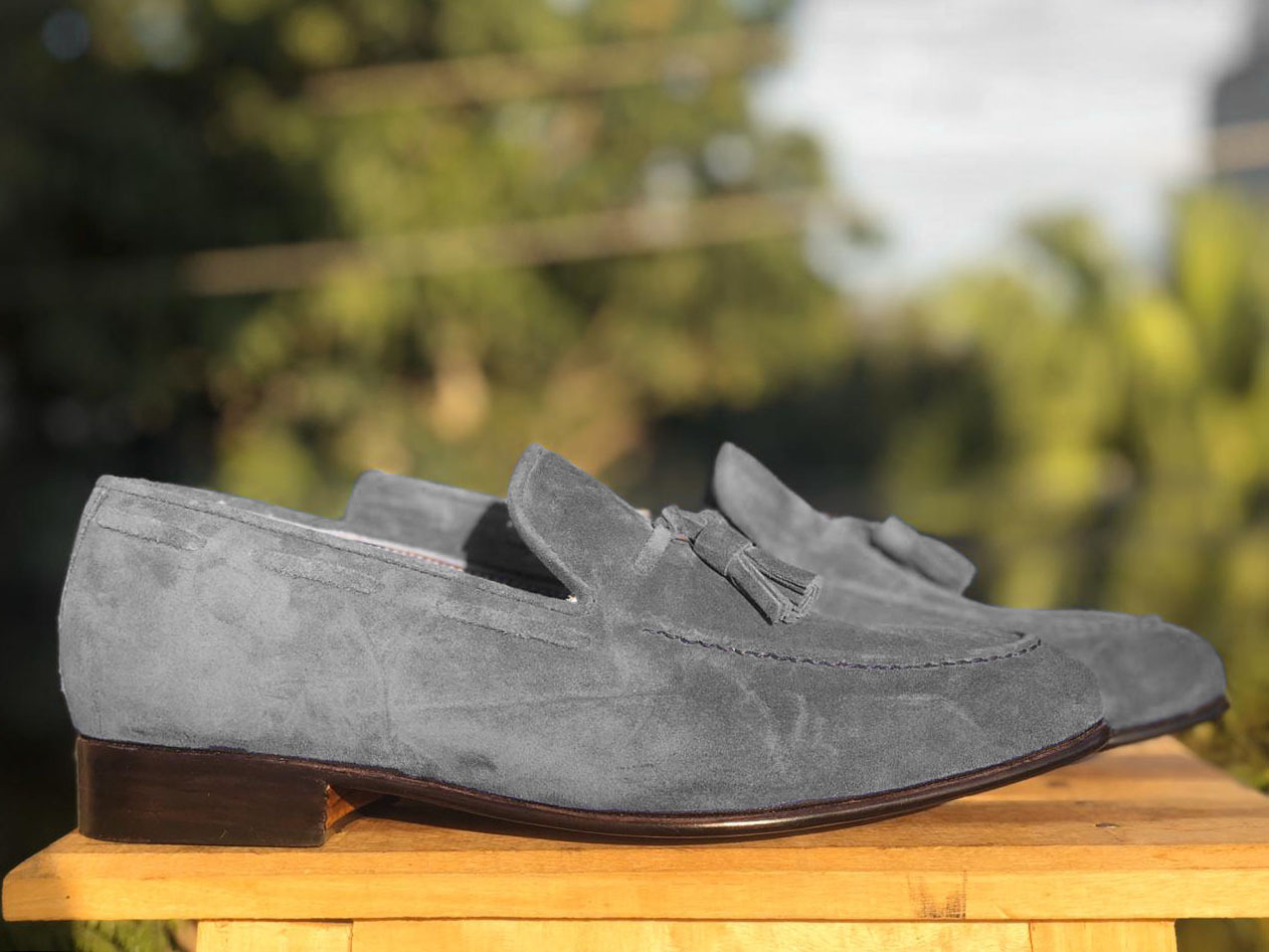 Handmade Men's Grey Suede Slip Ons Loafer Tassel Shoes