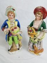 Lot of 2 Beautiful Vintage Antique Porcelain Figurines Art Deco Man Lady... - $19.34