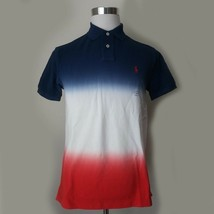 POLO Ralph Lauren Men Size M Short Sleeve Blue White Red Deep Faded Style  - $77.55