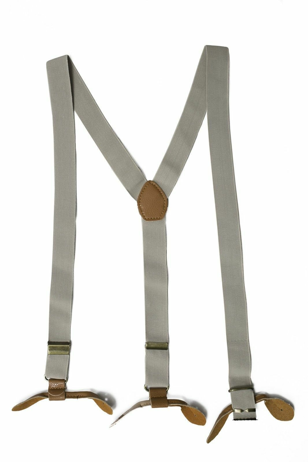 Beige Unisex Suspender Braces Adjustable Leather Button Holes Lycra/Elastane UK image 6
