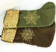 Green Brown Lot 2 Satin Beaded Sequin Christmas Holiday Stocking Embelli... - $29.69