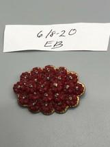Vintage Miriam Haskell WW2 Era Molded Red Glass Flower - $59.39