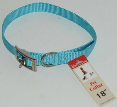 Valhoma 730 18 TQ Dog Collar Turquoise Single Layer Nylon 18 inches Package 1