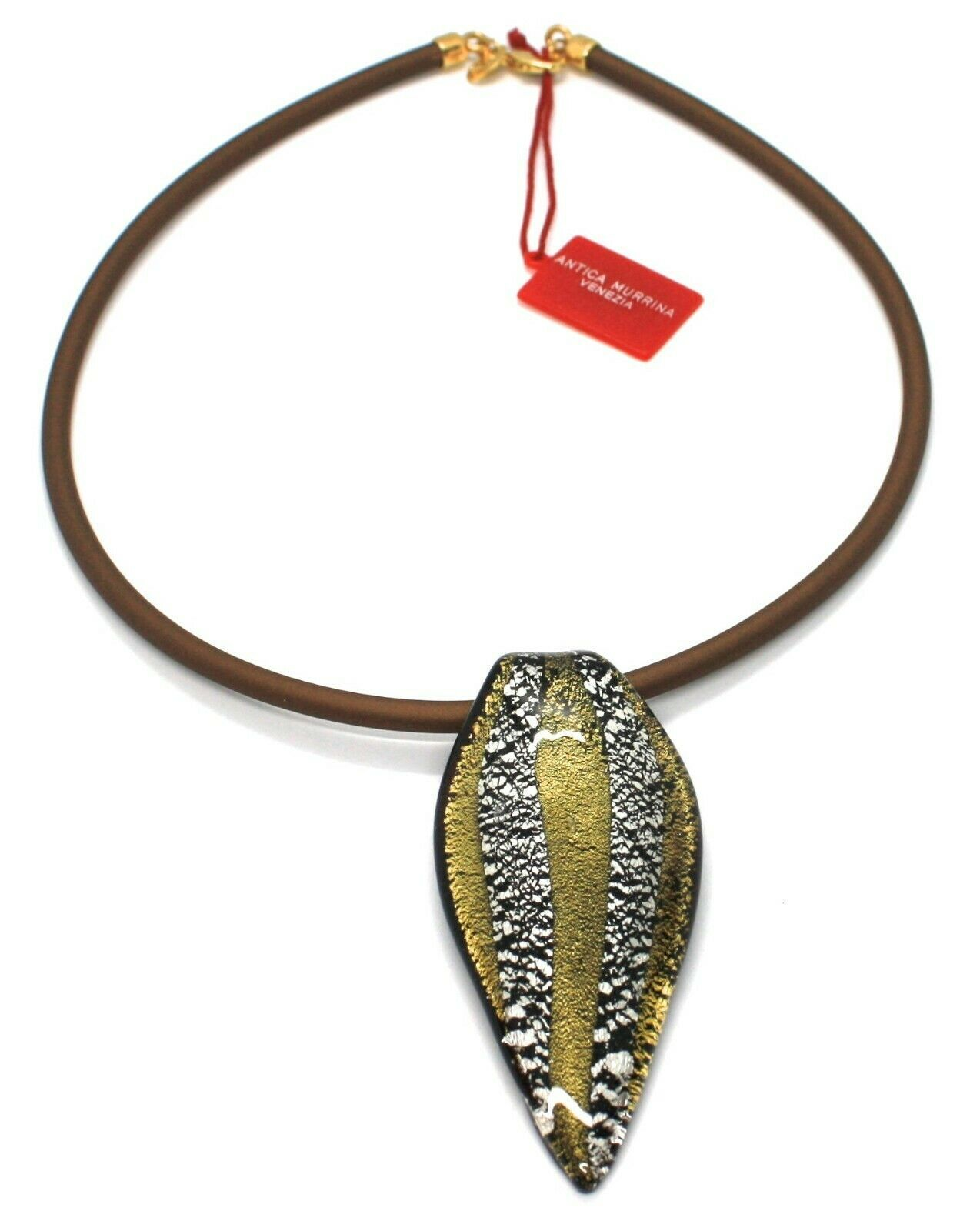 Necklace Antica Murrina Venezia,CO141A15,Stripes,Feather Pendant,Murano