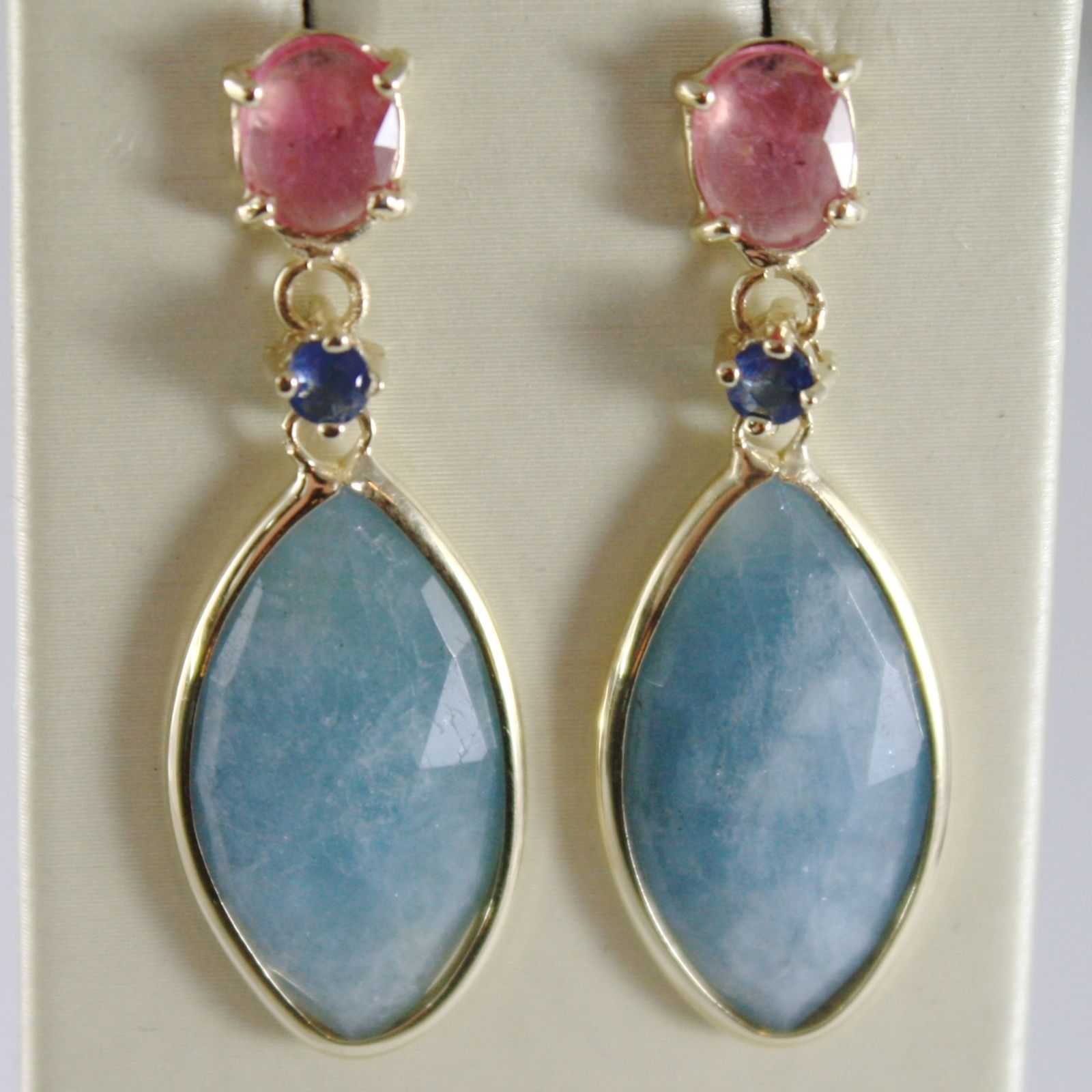 YELLOW GOLD EARRINGS 9K HANGING 3.5 CM AQUAMARINE 8.5 CARAT, RUBY, SAPPHIRE