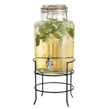 Elegant Beverage Drink Dispenser Durable Glass on Stand 1.5 Gallon with ... - $32.66