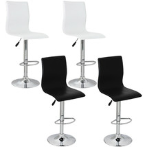 Set of 2 High-Back Bar Stool Adjustable Height & Chrome Finish PVC White... - $78.99