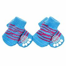 PANDA SUPERSTORE 4 Pcs Blue Tiger Stripes Cute Puppy Cat Socks Knitted Pet Socks