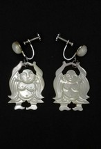 Vintage Carved MOP Mother of Pearl Buddha Dangle Earrings - $14.00