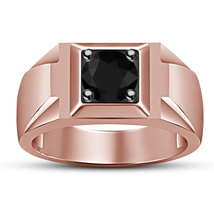 Solitaire Men's Band Wedding Ring Black Diamond 14k Rose Gold Plated 925... - $83.75