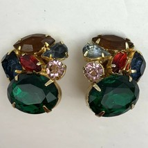 Vintage Multicolor Rhinestone Clip On Earrings Fruit Salad Chunky Gold Tone - $23.72