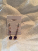Amethyst and Crystal Dangle Earrings  - $12.00